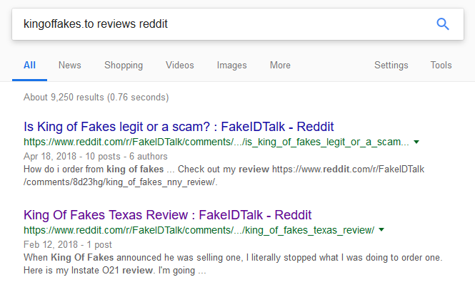 King of Fakes Scam Review - The Best Fake ID Reviews and